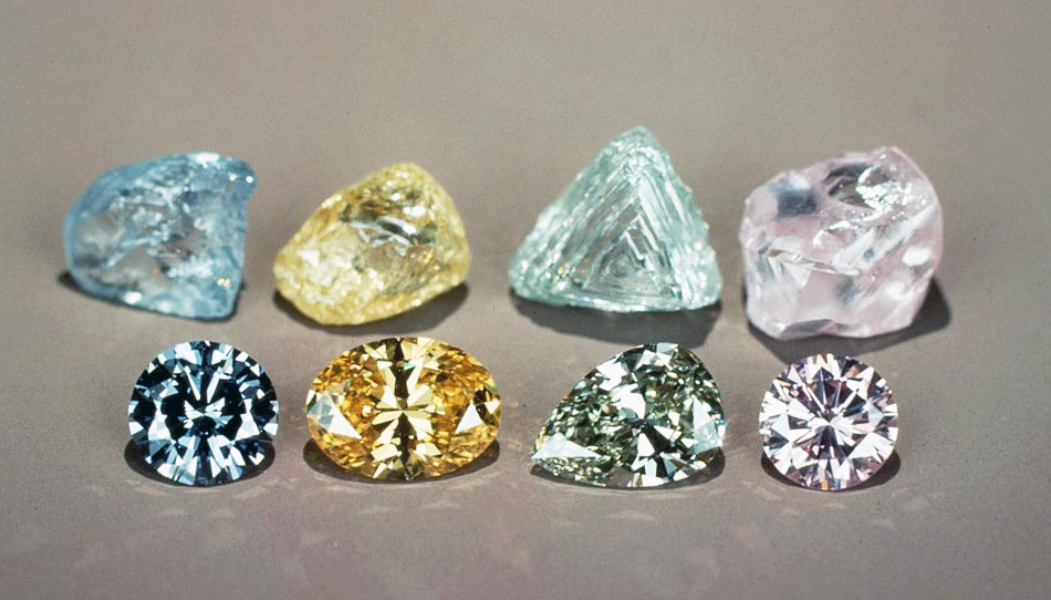 Examples of rough and cut fancy color diamonds in blue, yellow, aqua and pink