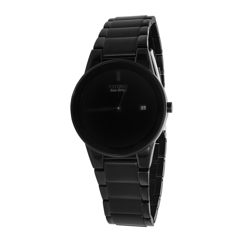 Gents Stainless Steel Black Plated Eco-Drive Citizen