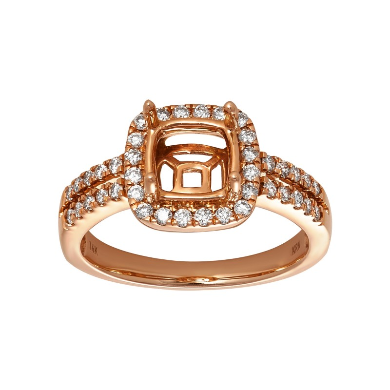 Ladies .500 Ctw Diamond Semi-mount / Rose Gold