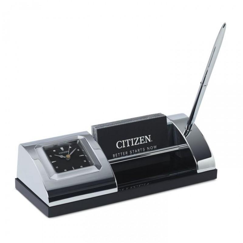 Citizen Silver-Tone Desk Clock with Pen