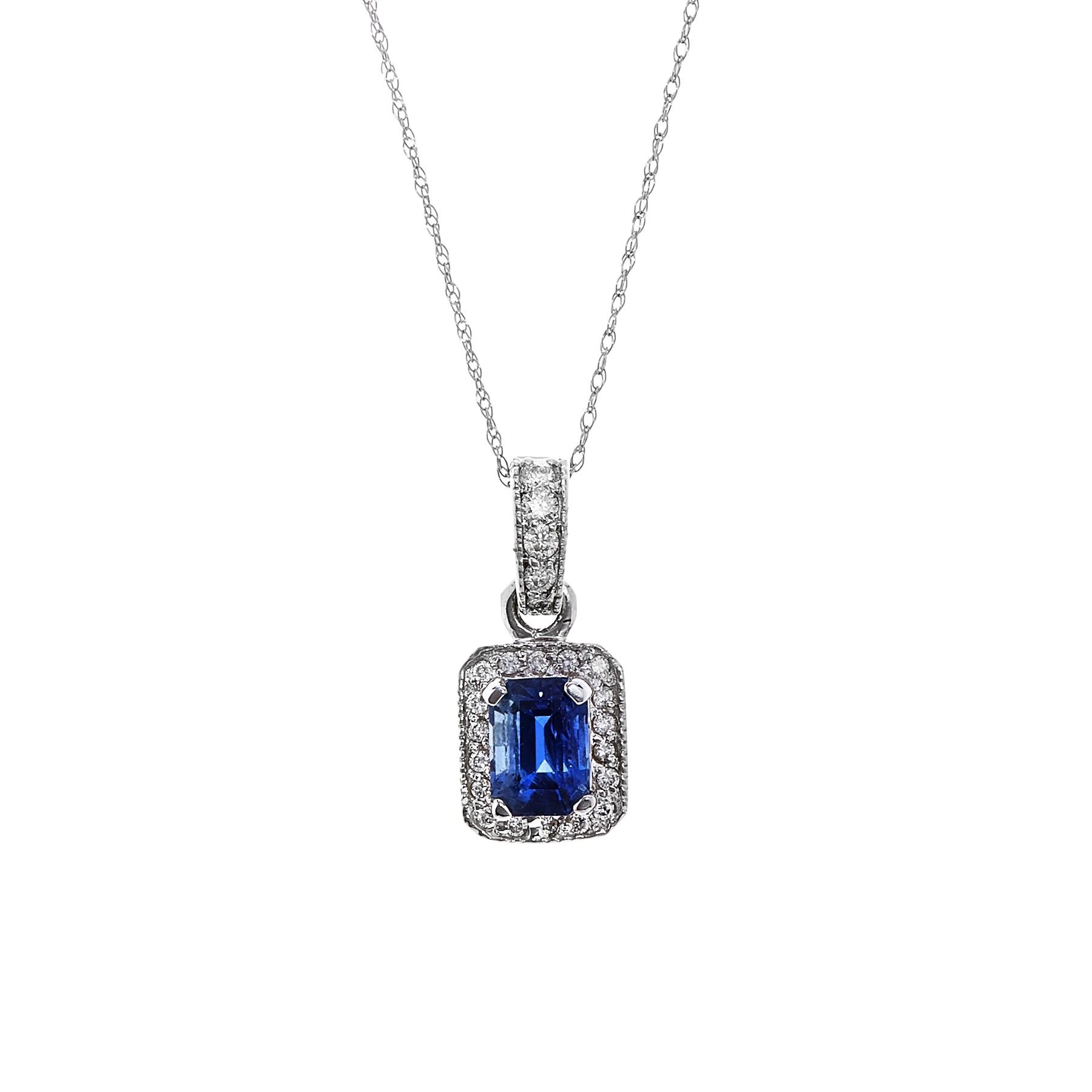 14kw 1.18ct Sapphire and .28ctw Diamond Pendant