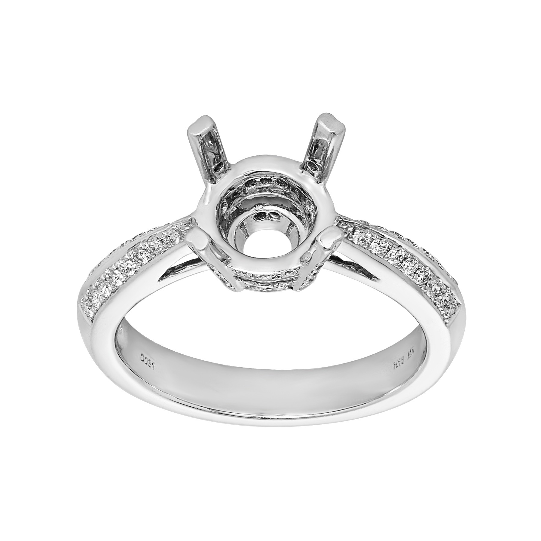 Ladies .310 Ctw Diamond Semi-mount / 18 Kt W