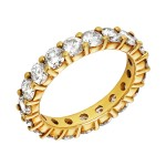 Ladies 3.040 Ctw Round Cut Diamond Anniversary Band / 18 Kt Y