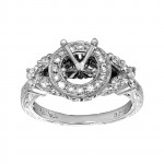 Ladies .820 Ctw Round Cut Diamond Semi-mount / 18 Kt W