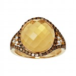 14ky citrine and .61ctw brown/white diamond ring