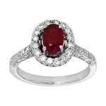 18kw .84ct Ruby and .82ctw Diamond Ring