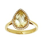 Ladies .090 Ctw Quartz Ring / 18 Kt Y