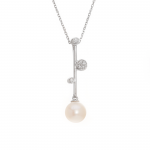 Ladies .060 Ctw Pearl Pendant / 18 Kt W