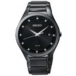 Seiko Men's Black Stainless Diamonds Solar Watch