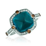 14k White Gold 5.20ct Blue Topaz and .21ctw Diamond Ring