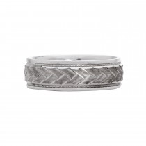 Sterling Silver Mens Milgrain Wedding Band