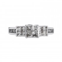Ladies Princess Cut Diamond Ring / 14 Kt W
