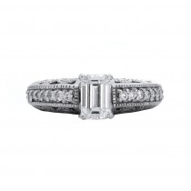 1.020 Ct. / .320 Ctw Emerald Cut Diamond Engagement Ring / VS2