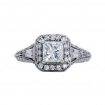 Ladies 1.770 Ctw Princess Cut Diamond Ring / 18 Kt W
