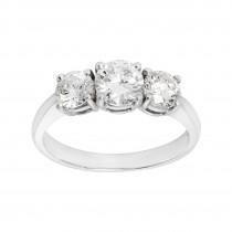 Ladies 1.530 Ctw Round Cut Diamond Ring / 18 Kt W