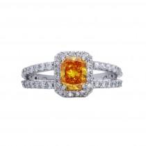 Lab Grown Orange Diamond Ring