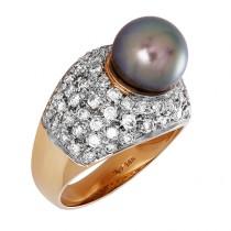 Ladies Black Pearl Ring / 14 Kt Y