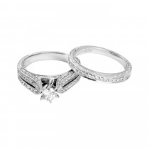 Ladies 1.000 Ctw Princess Cut Diamond Ring / 14 Kt W