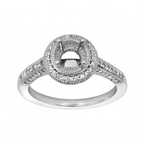 Ladies .480 Ctw Diamond Semi-mount / 14 Kt W