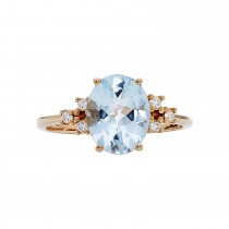 Ladies Oval Cut Aquamarine Ring / 14 Kt Y
