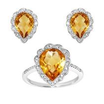 18kw .37ctw diamond and citrine earring/ring set