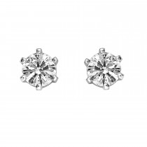 Ladies .600 Ctw Round Cut Diamond Stud Earrings / 14 Kt W