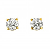 Ladies 1.020 Ctw Diamond Stud Earrings / 14 Kt Y