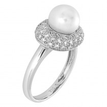 Ladies .430 Ctw Round Cut Pearl Ring / 18 Kt W