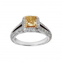 18kw 1.01ct Fancy Yellow Diamond and 1.00ctw accent di LAB-13667