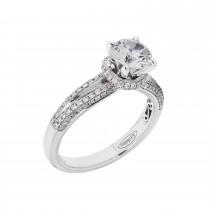 La Reina Brand 18kw .48ctw Diamond Semi-Mount CZ Center