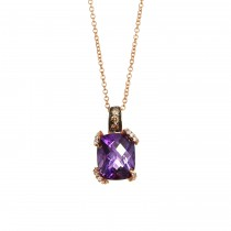 EFFY 14k Rose Gold 3.75ct Amethyst and .17ctw Diamond Pendant