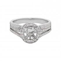 Ladies .700 Ctw Diamond Semi-mount / 18 Kt W