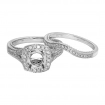 Ladies .700 Ctw Diamond Semi-mount / 14 Kt W