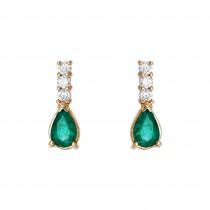 Ladies Emerald Earrings / 14 Kt Y
