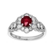 14kw .80ct Ruby/ .69ctw Diamond Ring