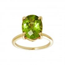 Ladies Emerald Cut Peridot Ring / 14 Kt Y