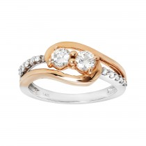 Ladies .700 Ctw Diamond Ring / 2-Tone 14 Kt.