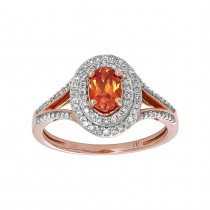 Ladies .400 Ctw Oval Cut Sapphire Ring / Rose Gold