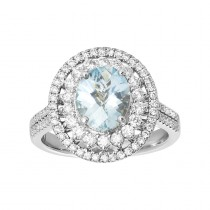 Ladies .760 Ctw Oval Cut Aquamarine Ring / 18 Kt W