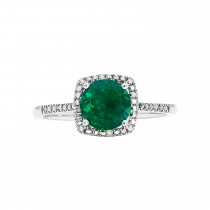 Sterling Silver Lab Grown Emerald and Diamond Ring