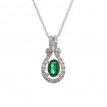 Ladies .400 Ctw Emerald Pendant / 18 Kt W