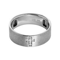 Men's Sterling Silver & Diamond Cross Ring