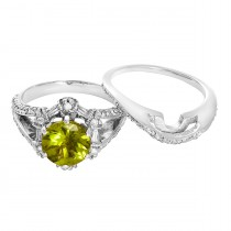 Ladies 1.050 Ctw Peridot Wedding Set / 14 Kt W