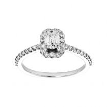 14kw .76ct Emerald Cut Diamond and .45ctw Round Diamond Ring