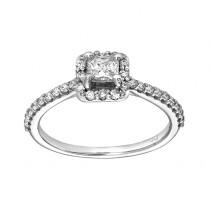 14kw .50ct Princess Cut & .53ctw Round Diamond Ring