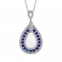 Ladies .390 Ctw Sapphire Pendant / 18 Kt W
