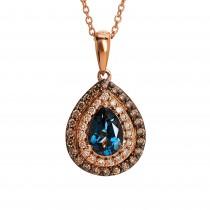Ladies .700 Ctw Blue Topaz Pendant / Rose Gold 14 Kt.