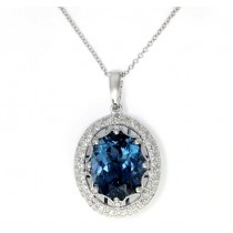 EFFY 14kw 5.18ct London Blue Topaz & .18ctw Diamond Pendant
