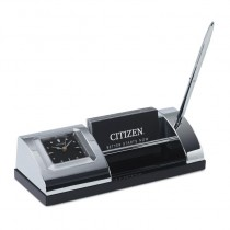 Citizen Silver-Tone Desk Clock with Pen