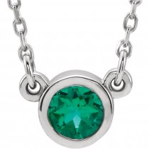 """Sterling Silver Imitation Emerald 16"""" Necklace"""